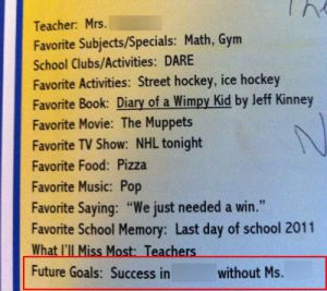 Ryan's yearbook entry