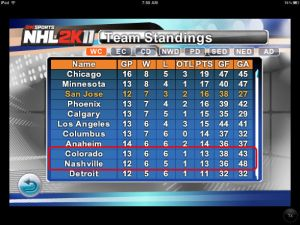 Standings from NHL2K11 on the iPad