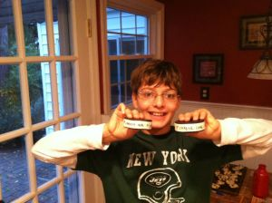 Ryan with his goal pucks