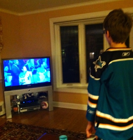 Ryan watching the Sharks