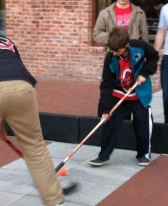 Ryan plays street hockey