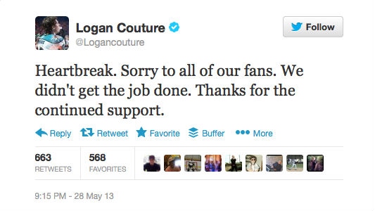 Logan Couture tweet