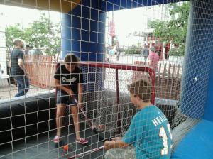 Riley and Ryan play hockey