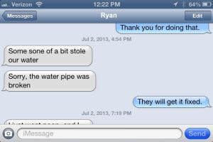 A text from Ryan's iPad