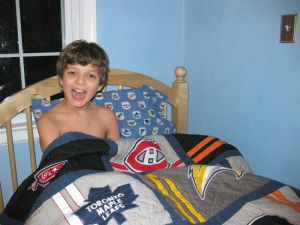 Ryan in his NHL bed
