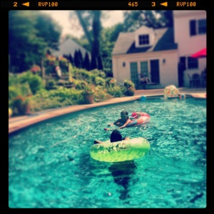 Ryan and Riley in the pool