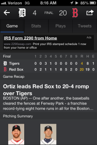 Tigers-Red Sox box score