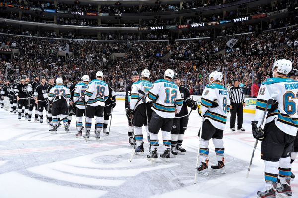 Sharks-Kings handshake line