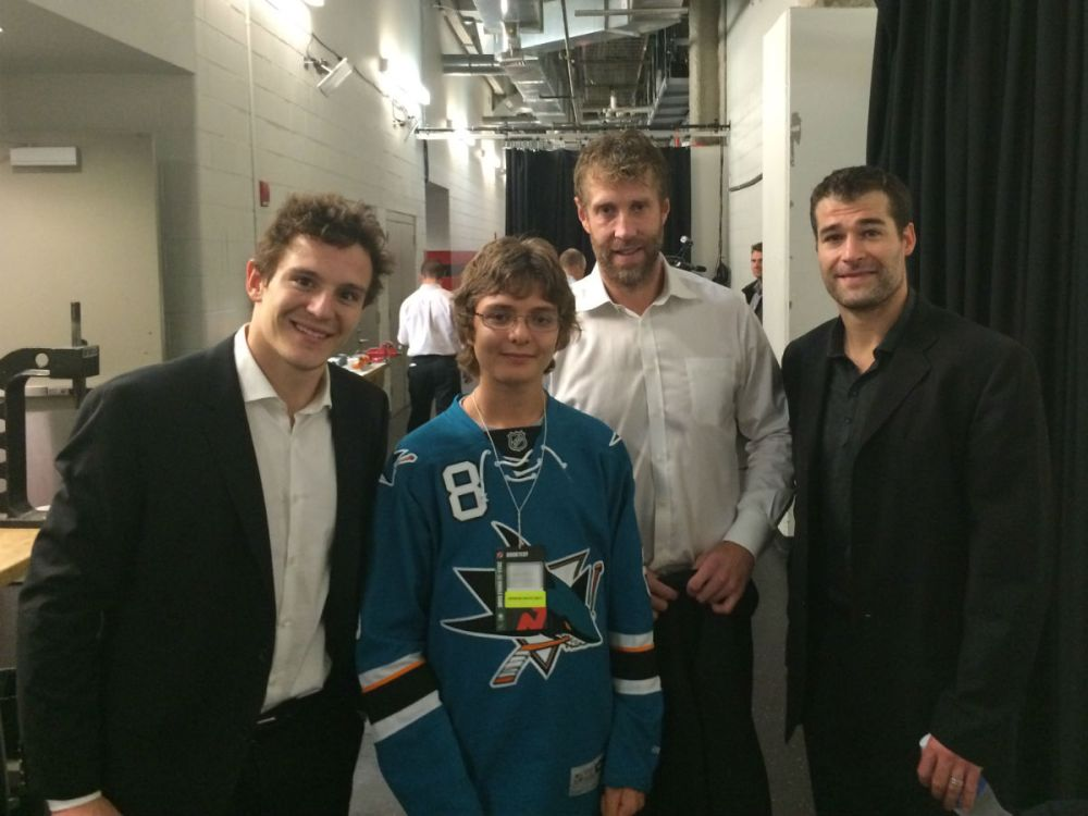 Ryan with Tommy Wingels, Joe Thornton and Patrick Marleau