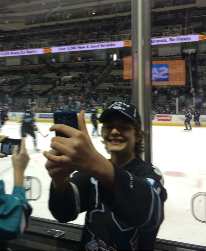 Ryan takes a selfie at the Sharks game