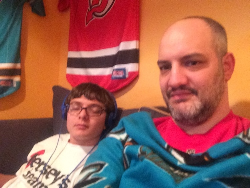 Watching hockey with Ryan